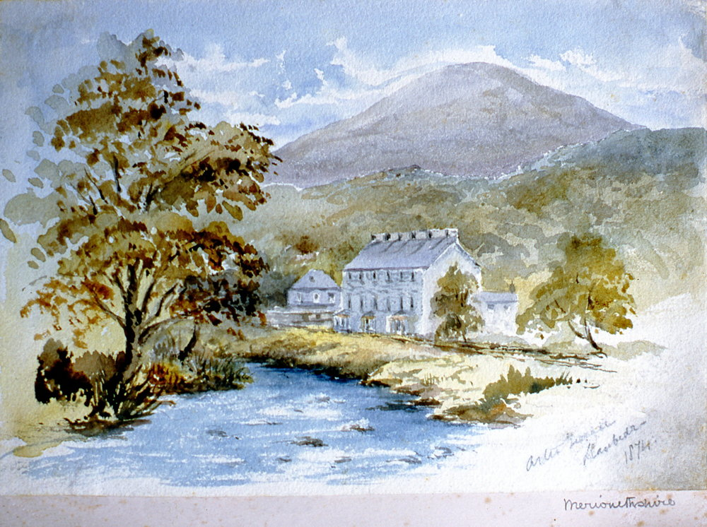 "Merionetshire , 1874, Julia Bullock Webster, watercolour on paper, 7""  x 10"", 2003.02.37, gift of The Grist Mill at Keremeos"