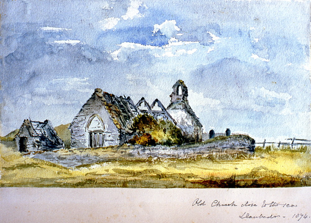 "Old church close to the sea , 1874, Julia Bullock Webster, watercolour on paper, 7""  x 10"", 2003.02.38, gift of The Grist Mill at Keremeos"