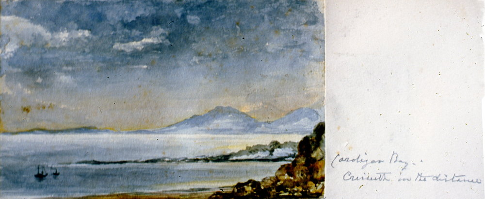 "Cardigan Bay, Crirceith in the distance , 1874, Julia Bullock Webster, watercolour on paper, 4""  x 6 1/2"", 2003.02.40, gift of The Grist Mill at Keremeos"