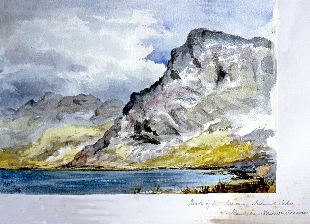 "Rock of the Arrow. Inland Lake - Laubode - Merionetshire , c. 1874, Julia Bullock Webster, watercolour on paper, 7""  x 10"", 2003.02.39, gift of The Grist Mill at Keremeos"