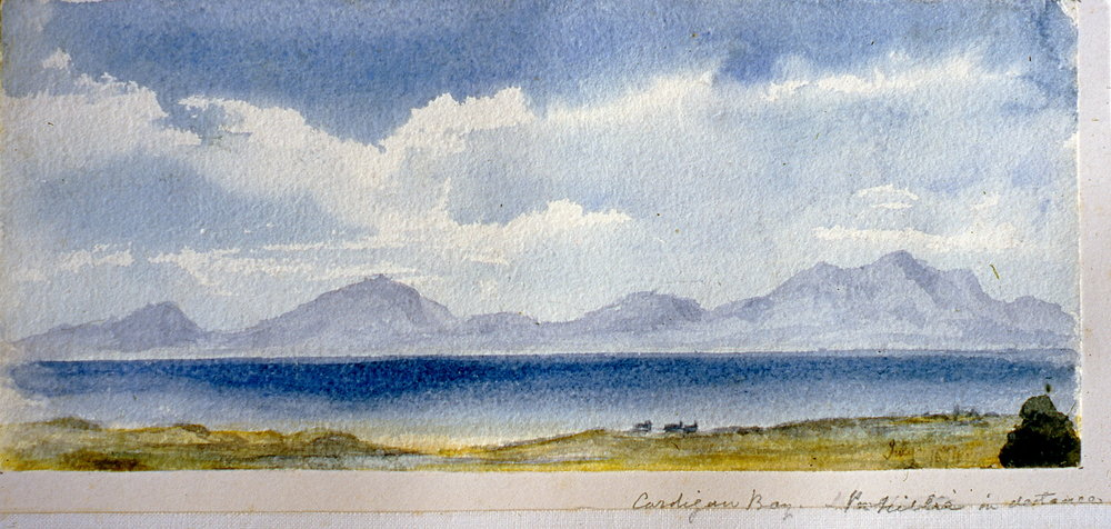 "Cardigan Bay (illegible) in distance , July 1874, Julia Bullock Webster, watercolour on paper, 4 1/4""  x 10"", 2003.02.41, gift of The Grist Mill at Keremeos"