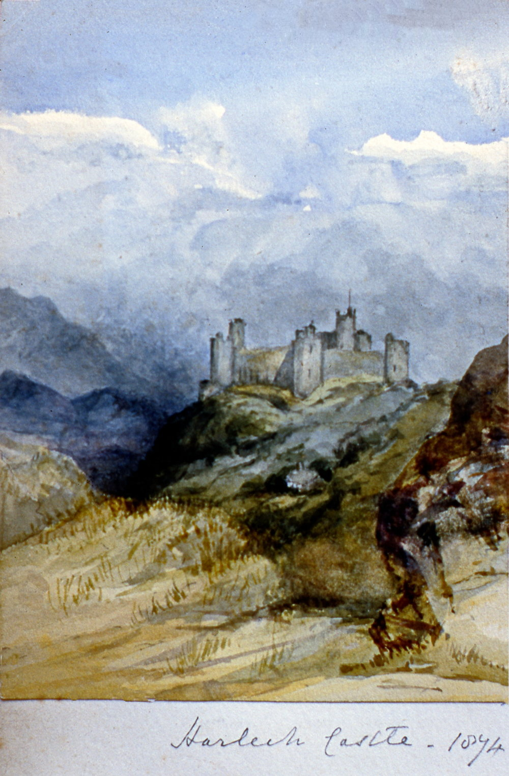 "Harleck Castle 1874 , 1874, Julia Bullock Webster, watercolour on paper, 5 5/8""  x 4 1/8"", 2003.02.47, gift of The Grist Mill at Keremeos"