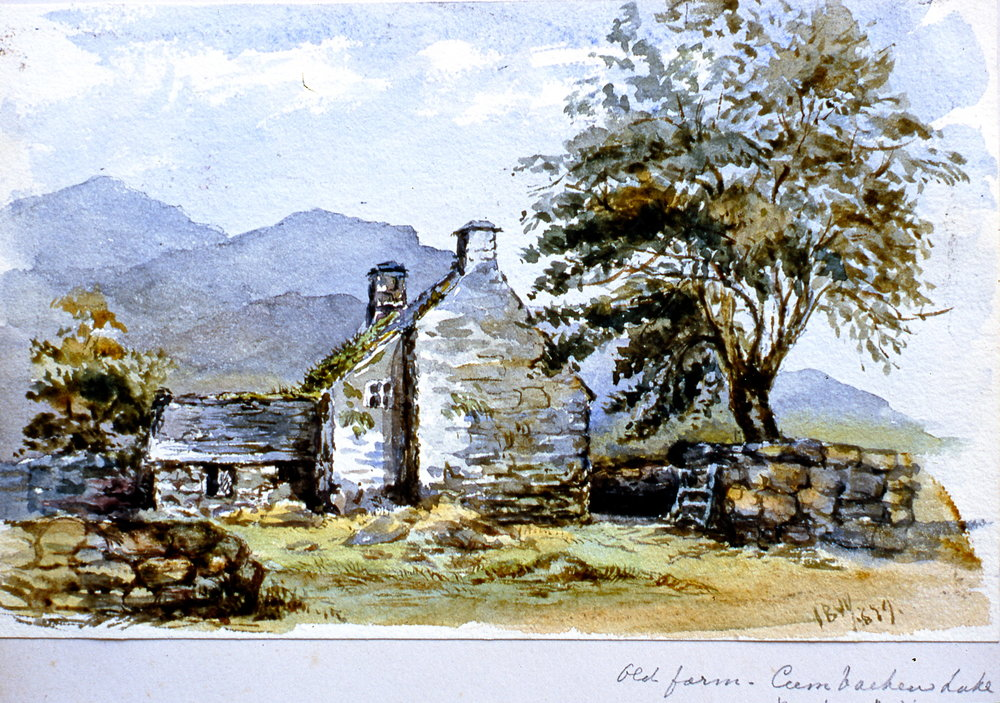 "Old farm, Cumbacken Lake - Merionethshire , 1879, Julia Bullock Webster, watercolour on paper, 5 3/4""  x 9"", 2003.02.52, gift of The Grist Mill at Keremeos"