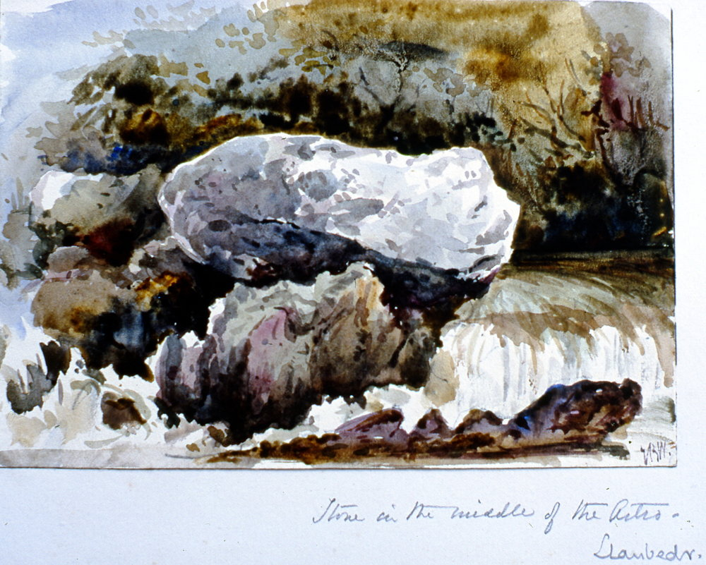 "Stone in the Middle of the Artro. Daubeds (?) , n.d., Julia Bullock Webster, watercolour on paper, 4 1/2""  x 6 1/2"", 2003.02.54, gift of The Grist Mill at Keremeos"