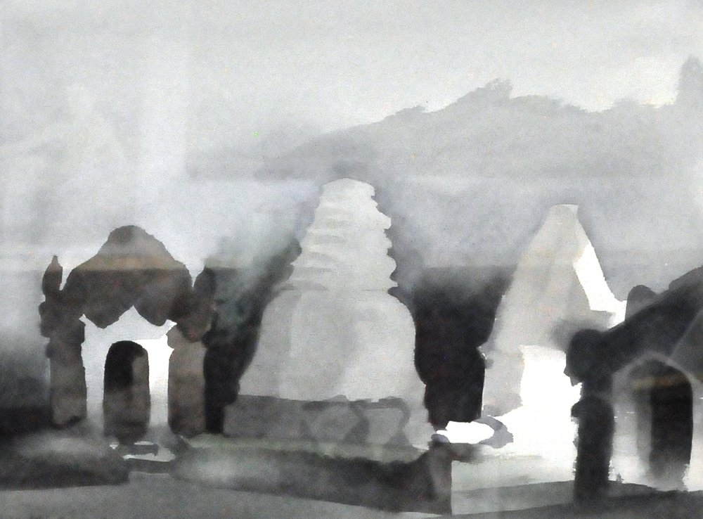 "Ohisan Coti, Burma , January 24th 1983, Toni Onley, watercolour, 11.5"" x 15.5"", 2007.06.04, gift of the artist's estate"