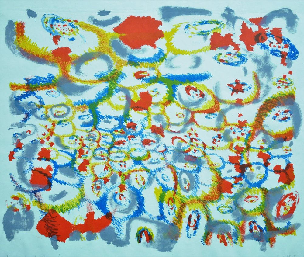 Seasonal Conflict,  1956, Judith Foster, colour lithograph print, edition 1/13, 38 x 44.5 cm, 2006.06.02, gift of Anna Vakan