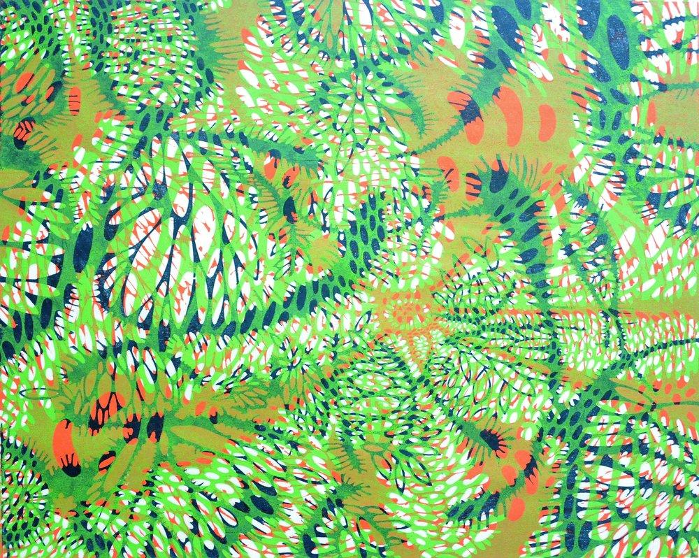 Spring Sun, 1957, 1963, 1979, Judith Foster, woodcut print, 35.6 x 44.5 cm, 2006.06.10, gift of Anna Vakan