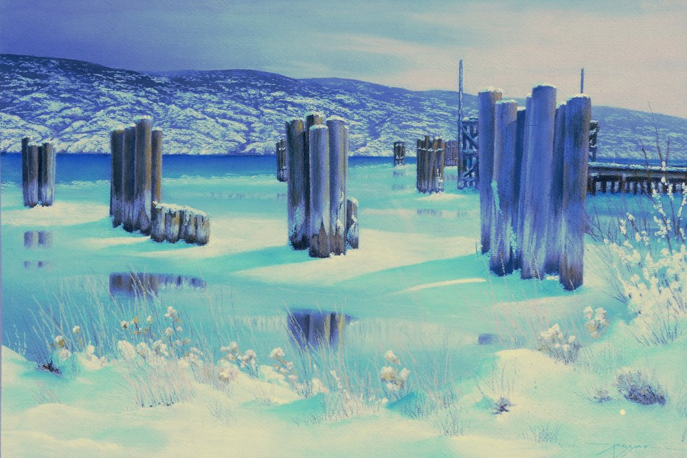 The Barges are Gone,  n.d., Irvine Adams, pastel on paper, 44 x 63.5 cm, 1995.01.01. Gift of the Okanagan Mainline Regional Arts Council.