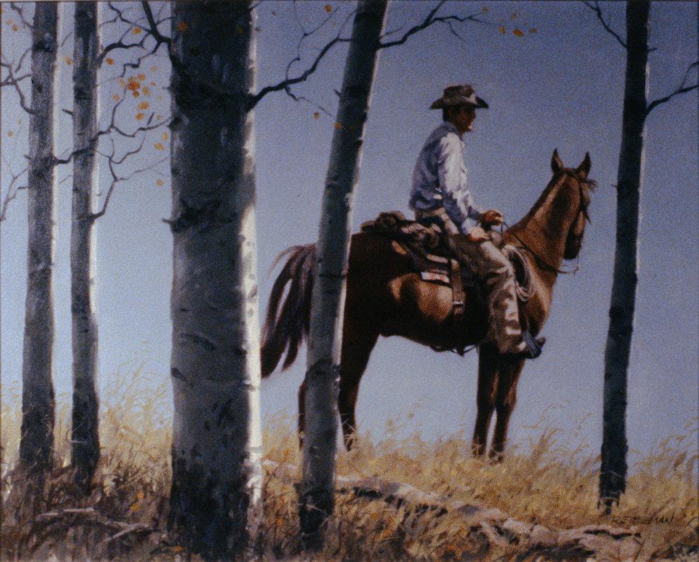 Poplar Frame, n.d., Richard Freeman, oil painting on hardboard, 39.5 x 49 cm, 1995.01.05. Gift of the Okanagan Mainline Regional Arts Council.