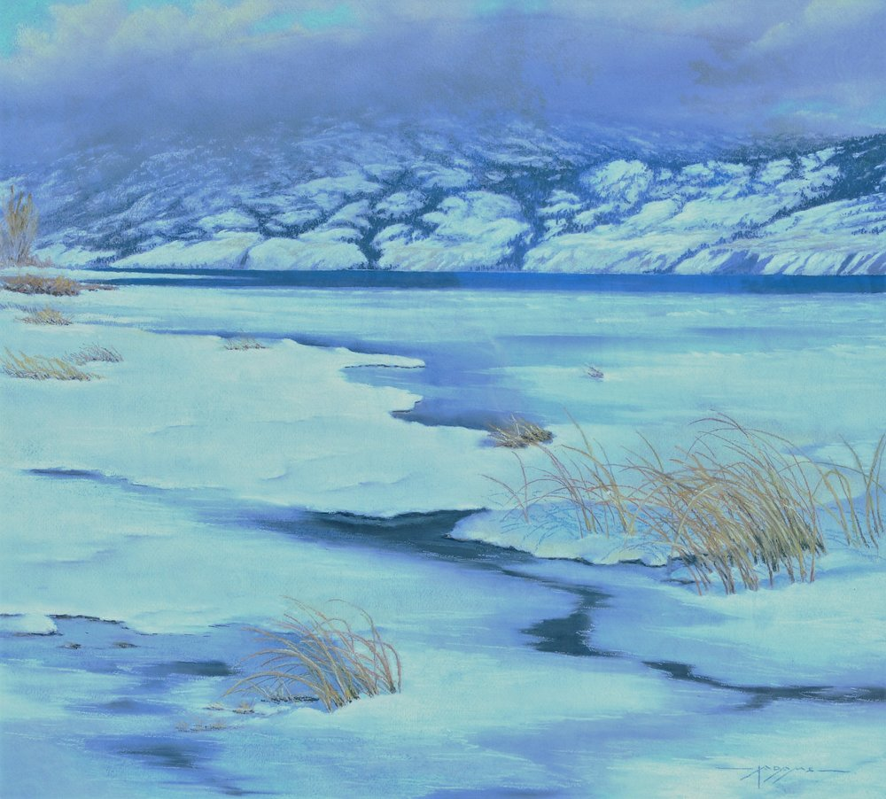 Winter Shoreline , c. 1964, Irvine Adams, pastel on rag board, 74 x 66 cm, 1966. 01.02. Purchased by the Penticton Art Club Show Committee through the assistance of the McCallum Fund.