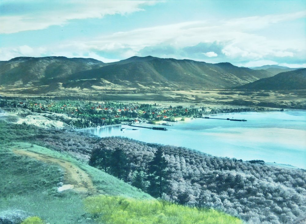 Penticton from Munson Mountain,  1952, Jack Stocks, tinted photograph, 18.5 x 24.7 cm, 2007.03.01. Gift of Kirsten & Ron Candy.