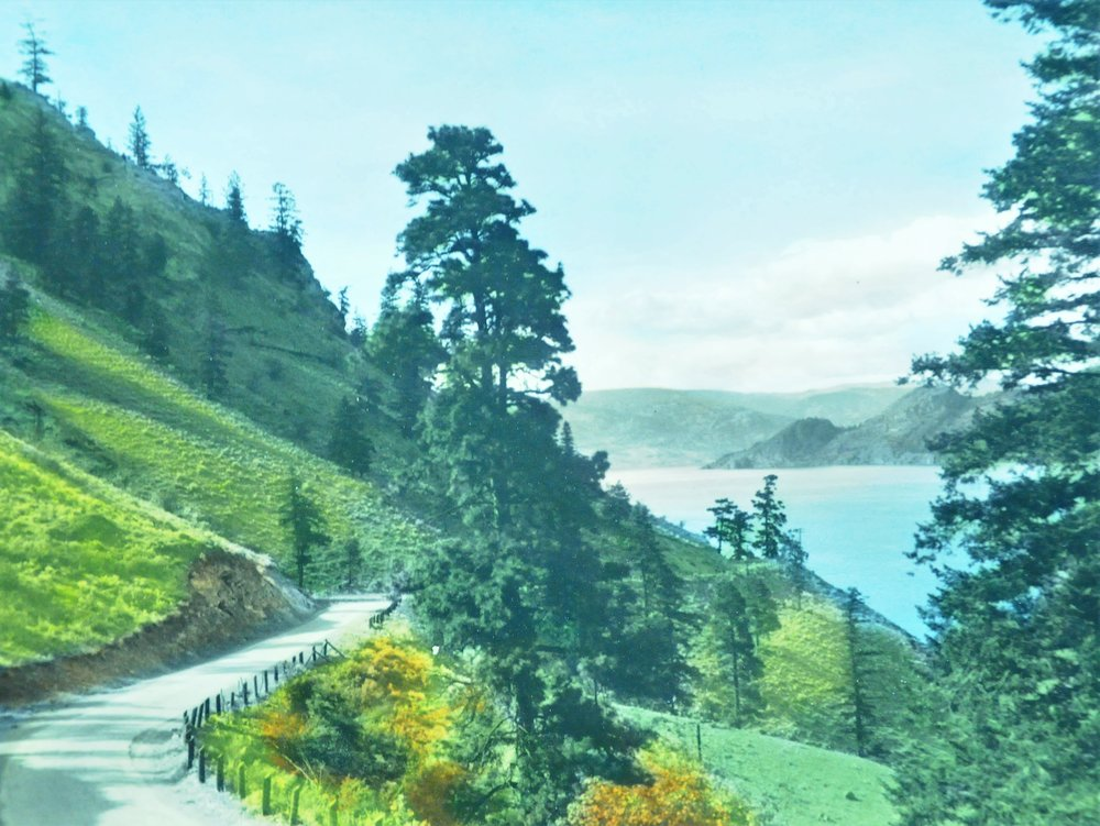 Road to Peachland , n.d., Lumb Stocks, tinted photograph, 19 x 25 cm, 2007.03.09. Gift of Kirsten & Ron Candy.