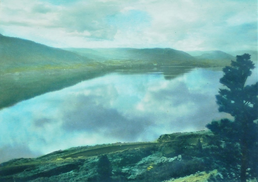 Okanagan Lake,  1933, Victor Russell, tinted photograph, 17.5 x 24.5 cm, 2007.03.11. Gift of Kirsten & Ron Candy.