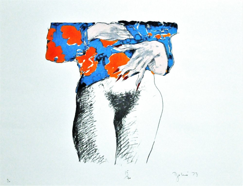 "Standing Nude,  1973, Louis Bakó, serigraph, edition 6/40, 22"" x 28"", 2008.02.10. Canada Art Council Art Bank."