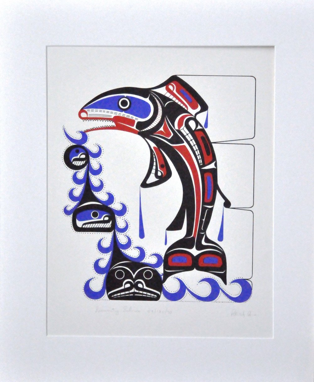 "Spawning Salmon,  1978, Patrick Amos, serigraph, edition 59/125, 20"" x 15 3/4"", 2008.03.02"