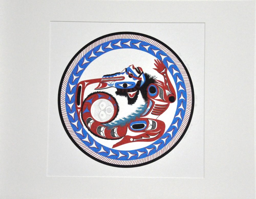 "Whirling Wolf,  1990, Patrick Amos, serigraph and graphite, edition XII/XIV, 19 1/2"" x 18 1/2"", 2008.03.05"