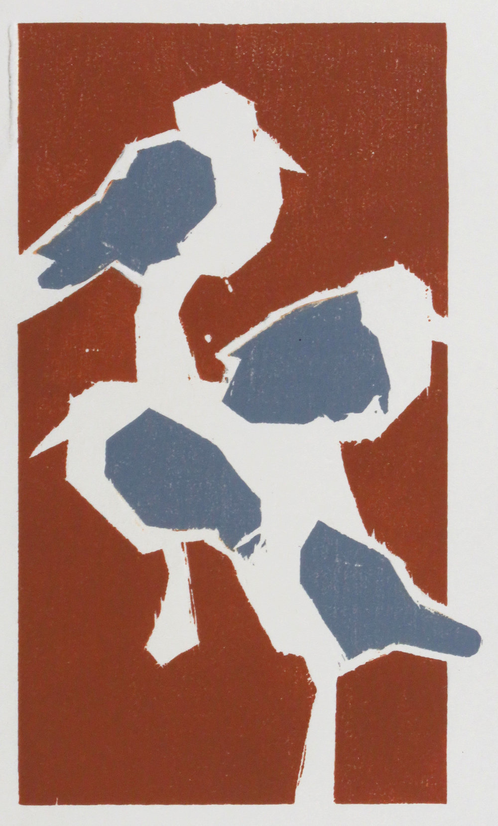 Four Plover woodcut progress print 1.JPG