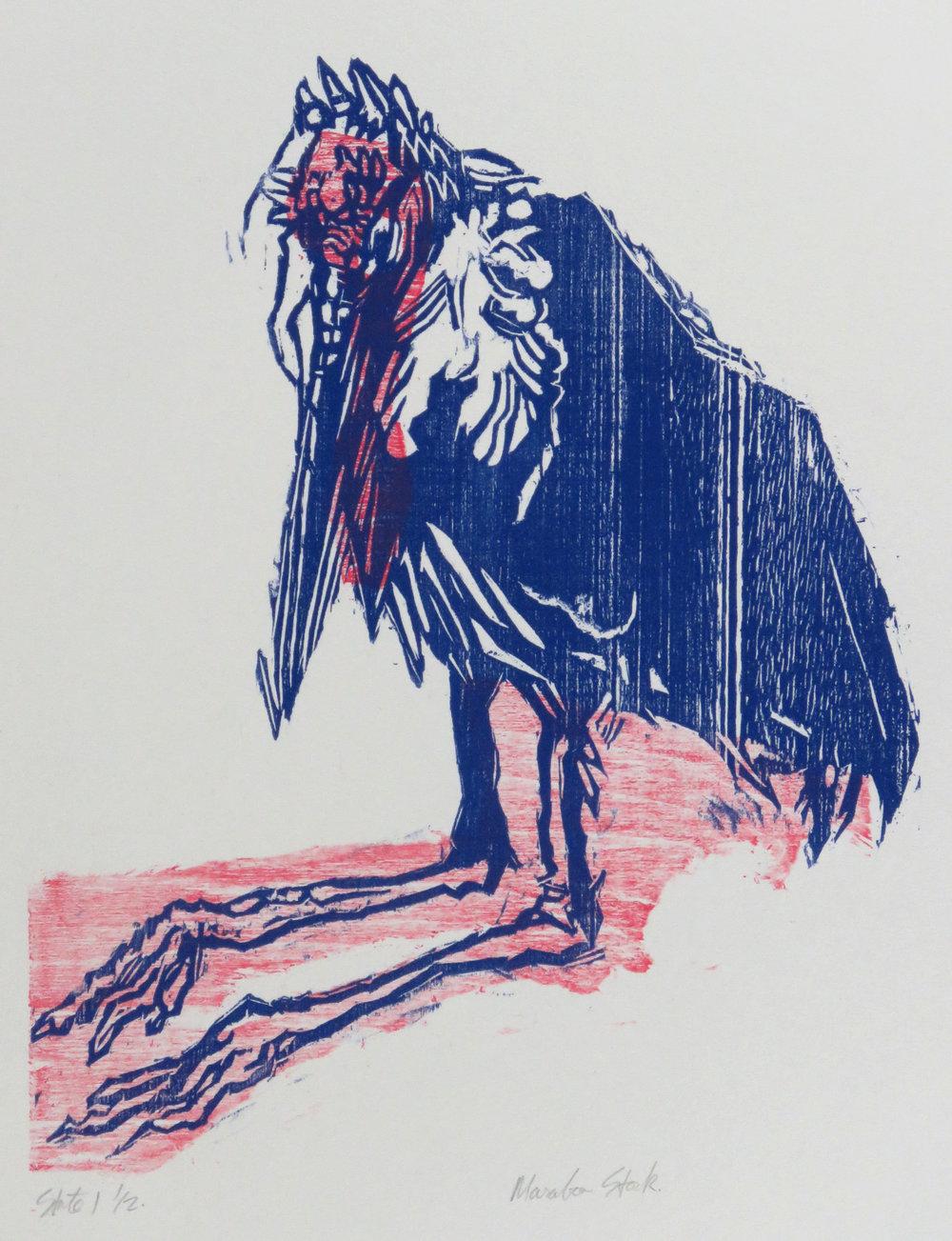 Marabou Stork woodcut state proof.JPG