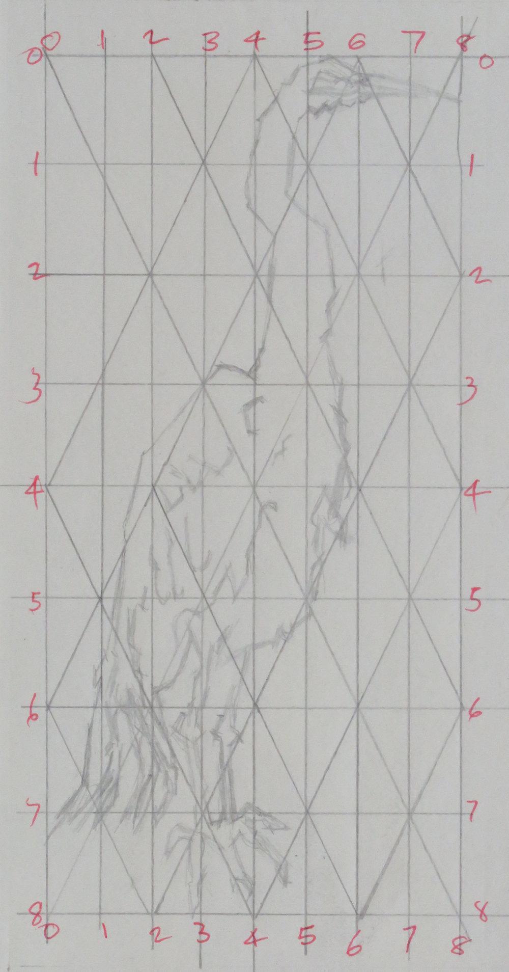 White egret colour drypoint, roulette gridded study.JPG