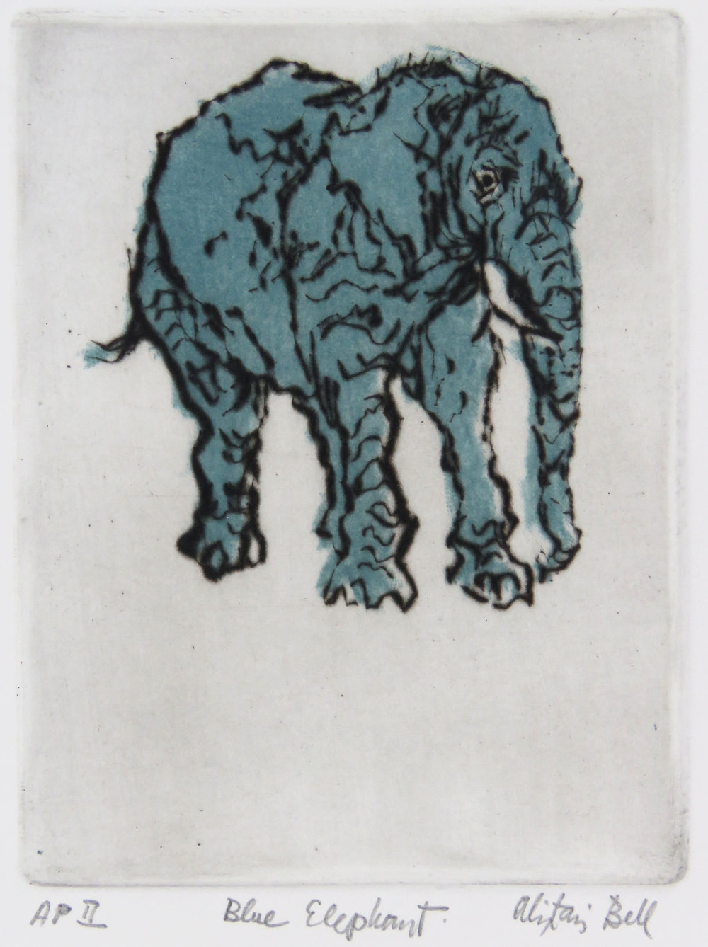 Blue Elephant colour drypoint, roulette.jpg
