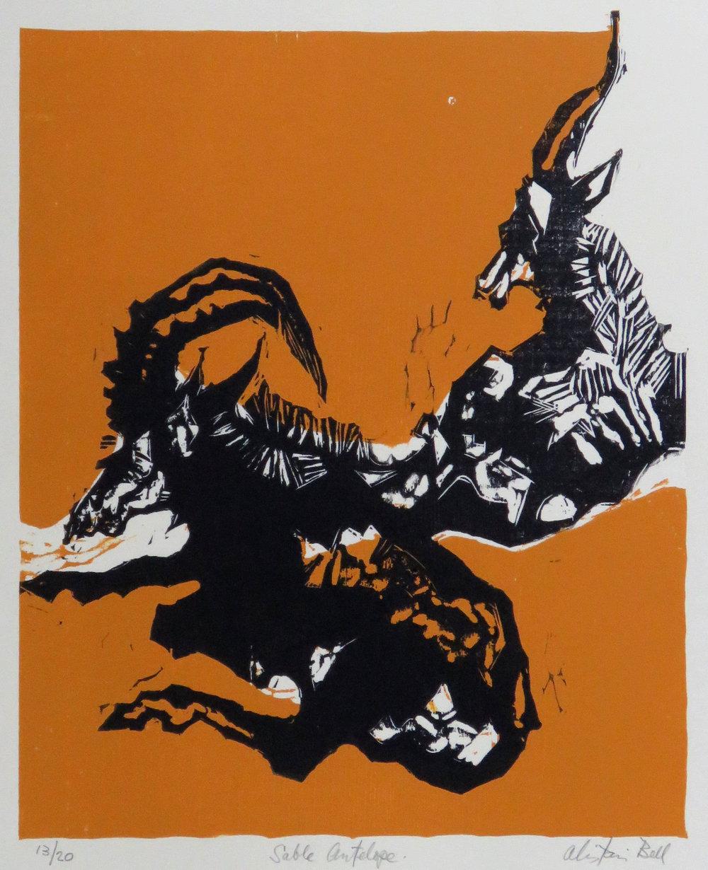 Sable Antelope (State 2) woodcut.JPG