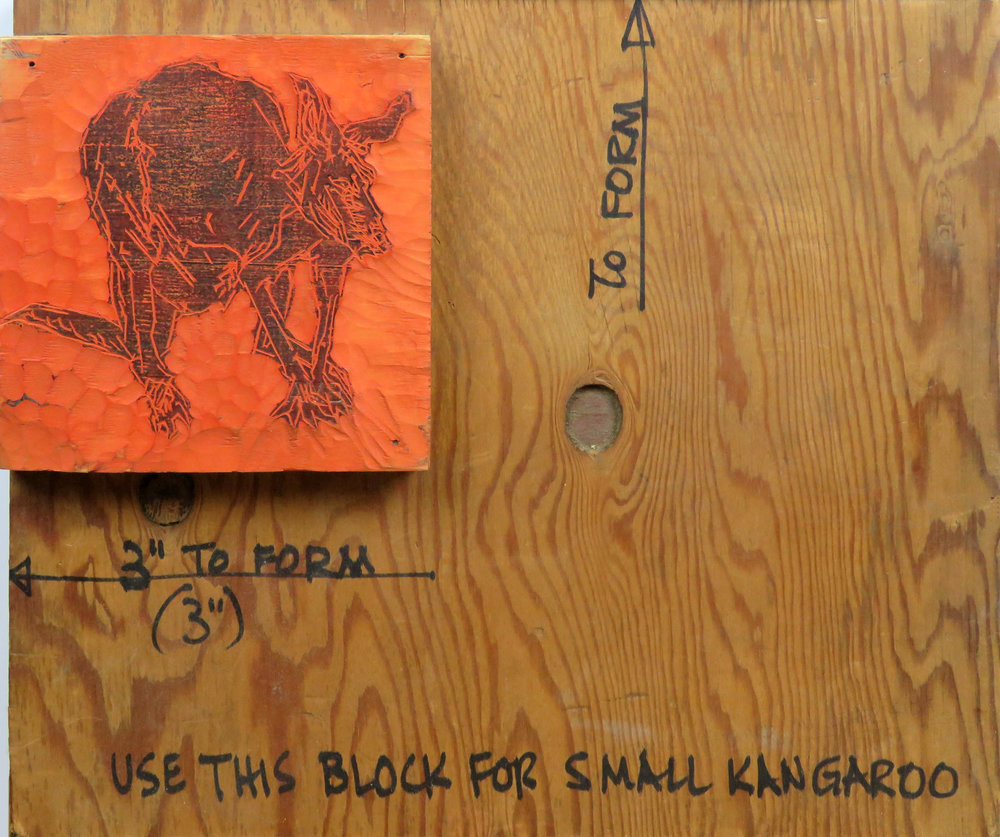 Two Kangaroos woodcut block on plywood.jpg