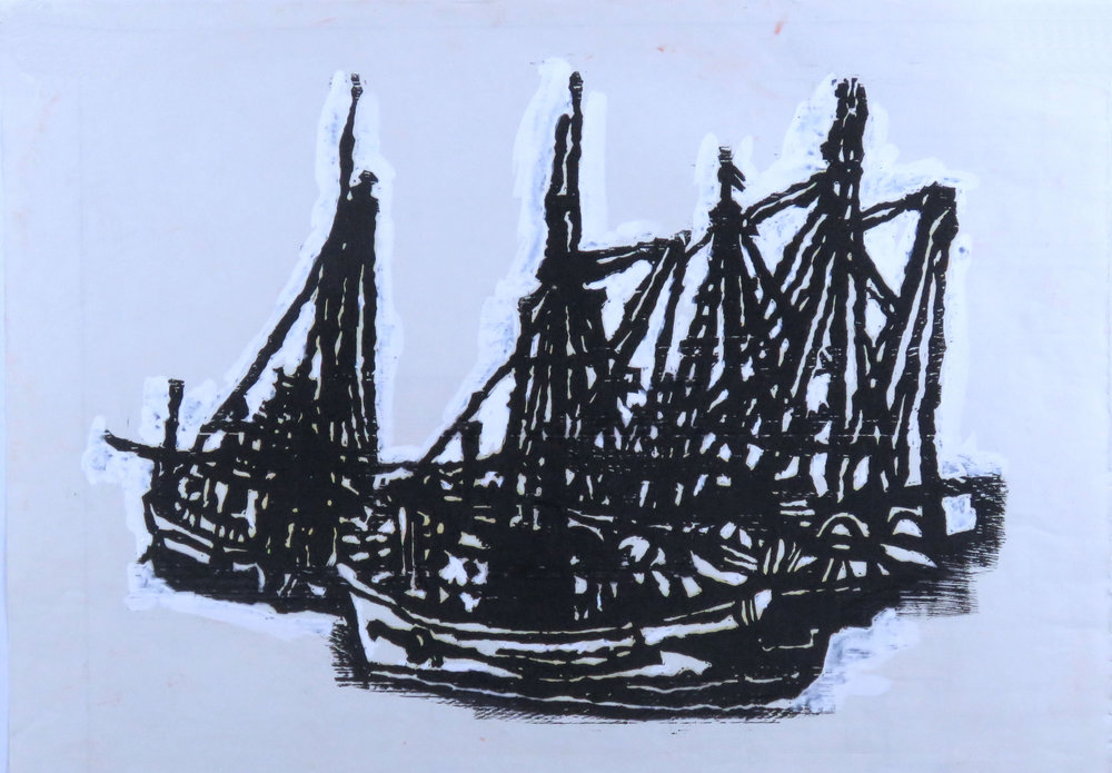 Boats at Celtic woodcut proof 1.jpg