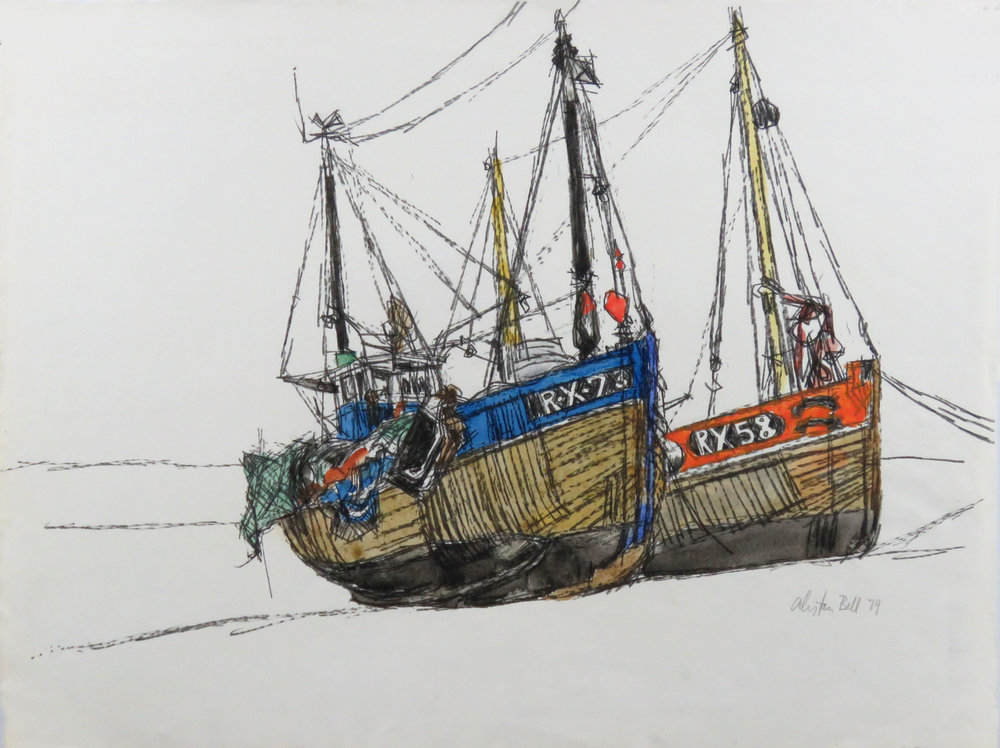 Two Boats at Hastings 20-79 conte & watercolour.JPG