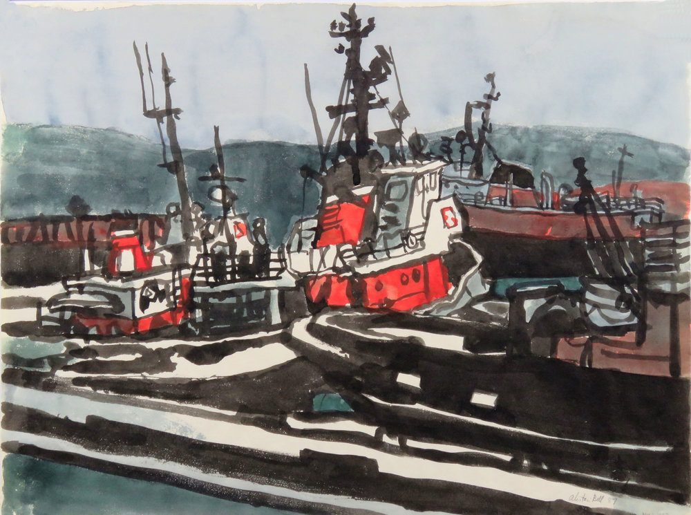 Boats at Seaspan Dock - Sk.1 18-87 brush & ink w.watercolour washes.JPG