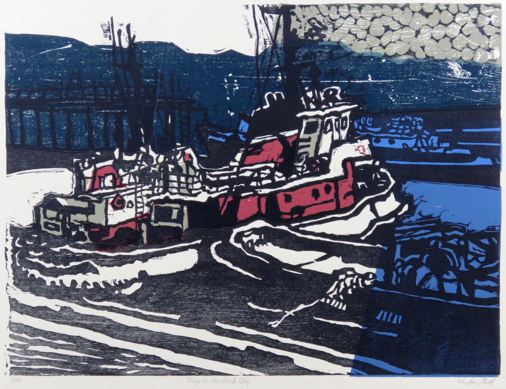 Tugs under Dark Sky woodcut.JPG