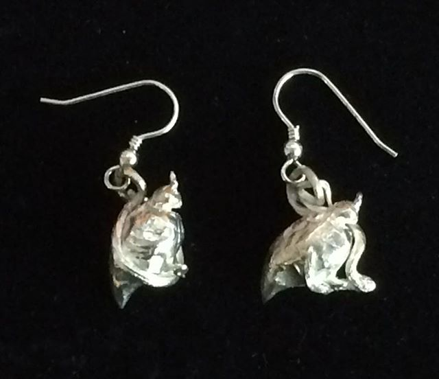 Sterling silver earrings by Catherine Sutherland in the PAG gift shop. Lots of great gift ideas in the shop. #jewellery #earrings #pentictonartgallery #visitpenticton #quail #giftideas