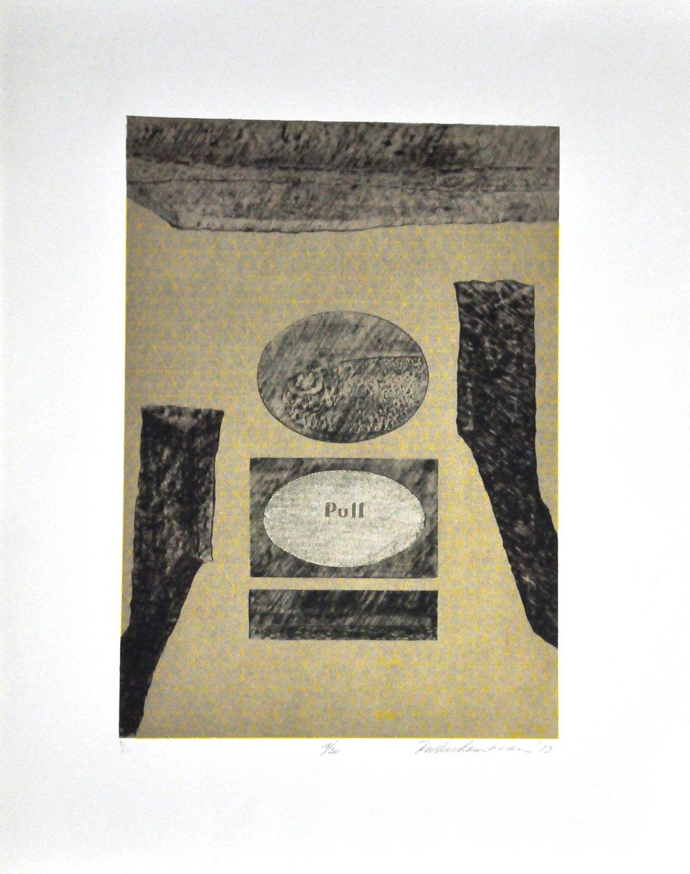 """Pull,  1973, Robert W. Archambeau, photo silkscreen, 18/30, 28.5""""   x 22.6"""", 2008.02.04, Gift of   the Canada Council Art Bank."""