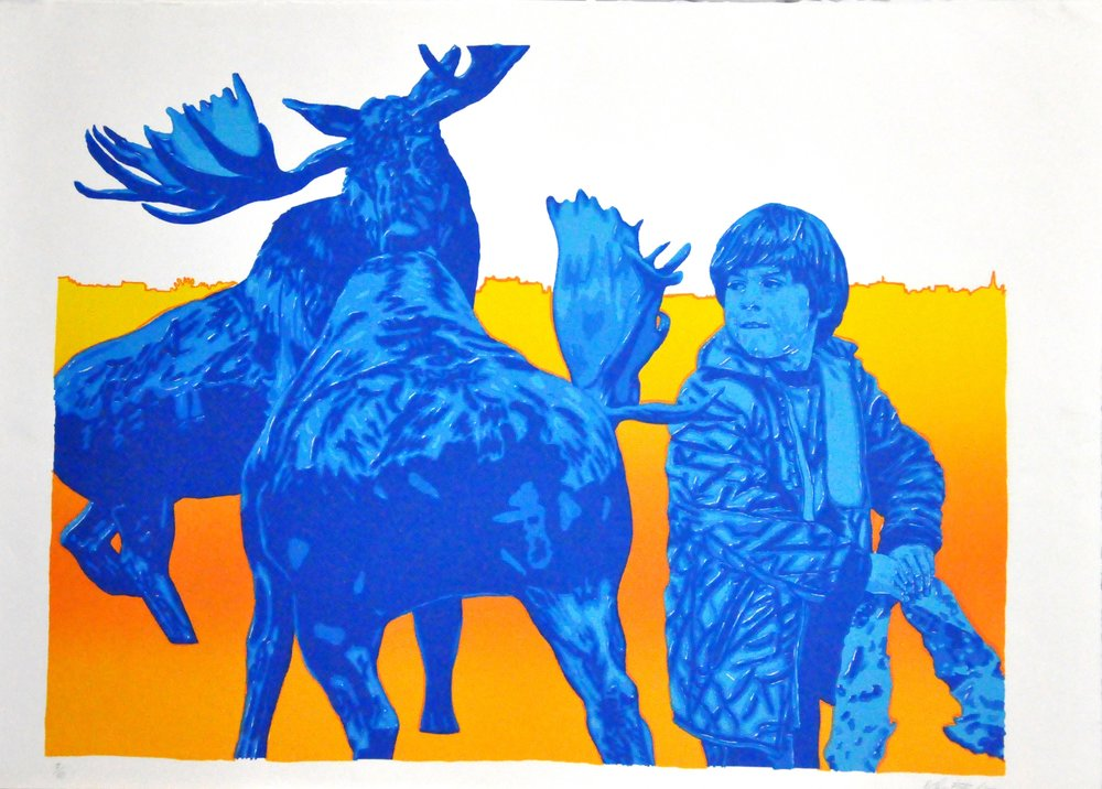 "Blue Moose,  1973, John Boyle, six colour lithograph, 22.4"" x 31.1"", 2008.02.09, Gift of the Canada Council Art Bank."