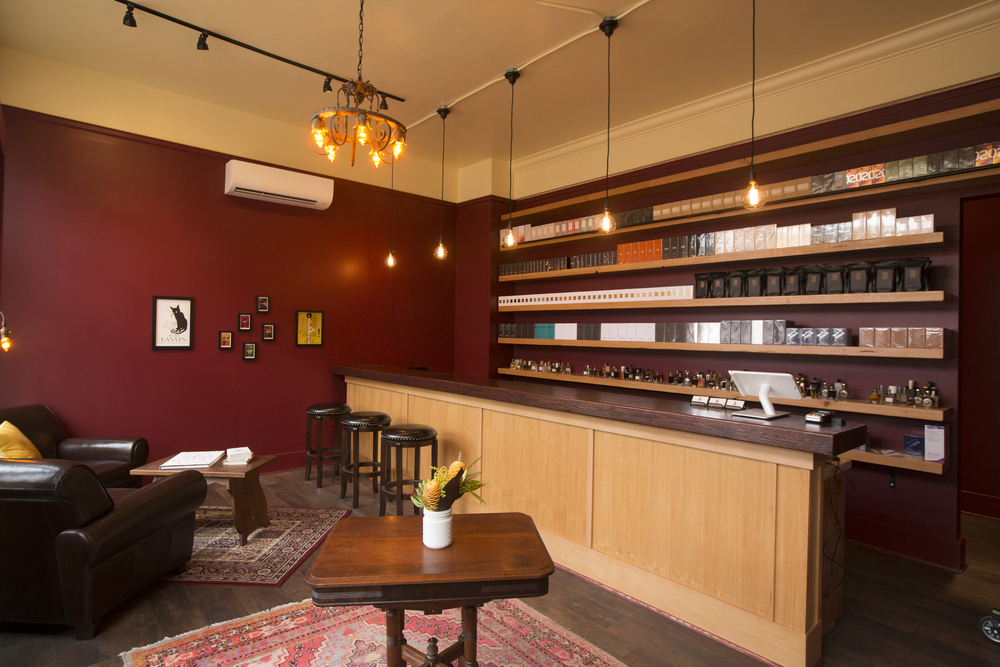 The finished interior of Fumerie is warm and inviting, just as Tracy Tsefalas envisioned.