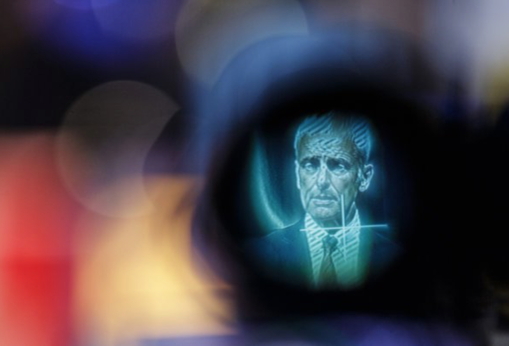 Matthias Mueller, chief executive of Volkswagen, is displayed on a camera's viewfinder during a news conference.  LISI NIESNER / BLOOMBERG
