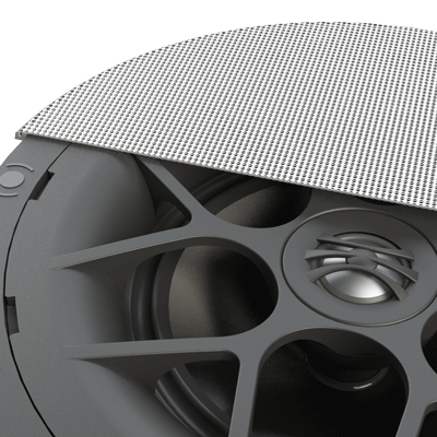 modern high-performance in-ceiling speaker with a bezeless grill