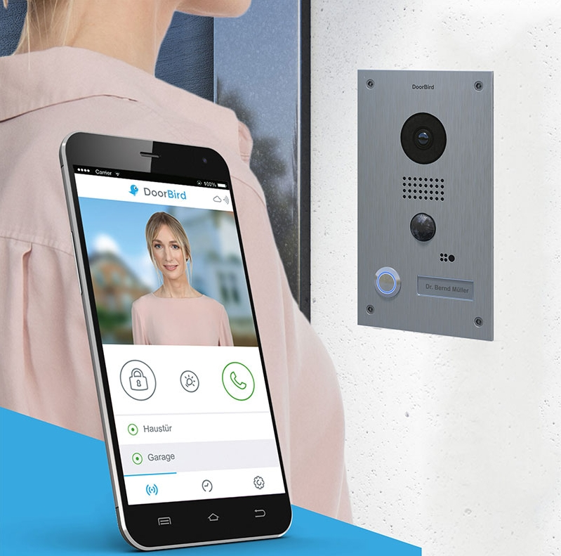 It is as simple as that - You can see your visitors, speak with them and open the door by smartphone or tablet – from anywhere in the world. DoorBird combines innovative technology with exclusive design. A smart solution – Made in Germany. Available for free in the Apple App Store & Google Play Store