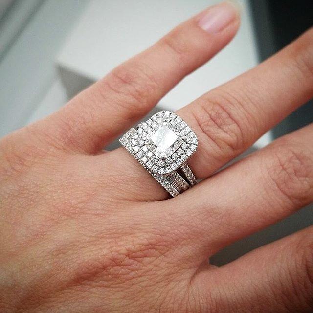 """Isn't she lovely?"" Double Halo engagement ring with Emerald baguette wedding band by Fulgeo Diamonds #myfulgeo  www.fulgeodiamonds.com"
