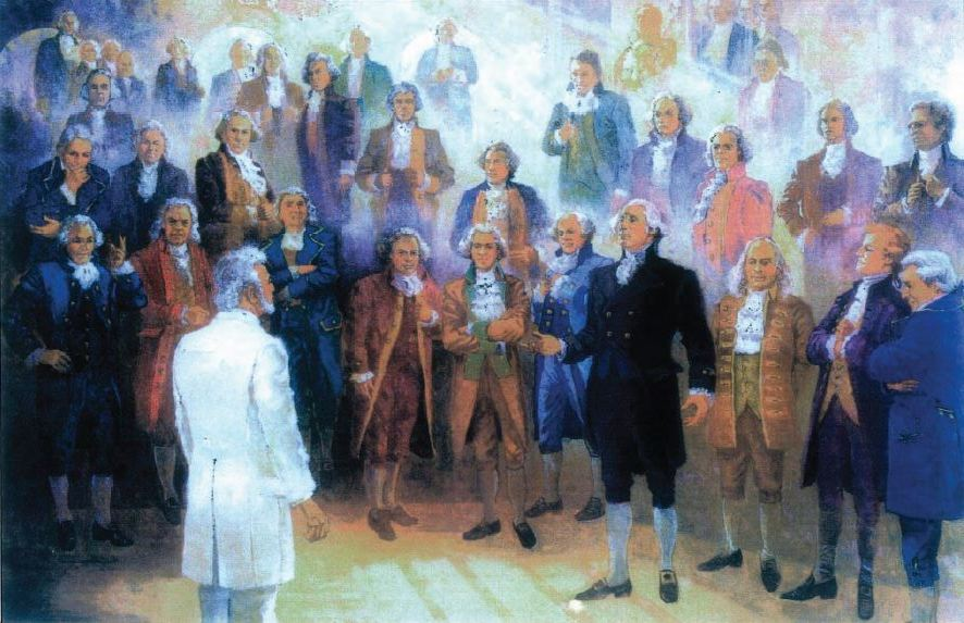 """In August 1877, the Founding Fathers of the United States appeared to Wilford Woodruff in the St. George Temple, asking that their temple work be done. President Woodruff reports that he """"straightway went into the baptismal font and called upon Brother McAllister to baptize me for the signers of the Declaration of Independence, and fifty other eminent men."""""""