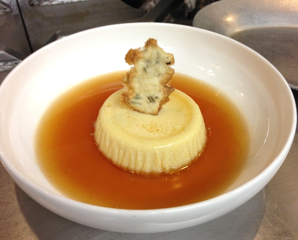 Parmesan and Roasted Garlic Flan in Tomato Consomme
