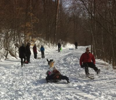 Younger children frolic on the steep section at the bottom near the state park parking lot. Top group photo of the Mt. Philo crew: Alex Bunten.  4 Riders, by Oliver Parini