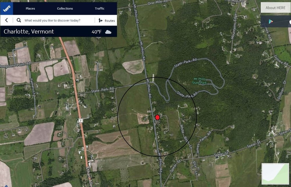 Here.com image of the Mt. Philo Inn and it's surroundings