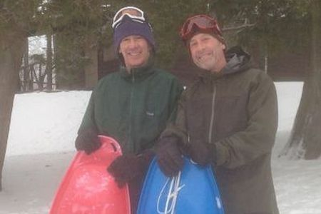 "The ""torpedo"" brothers, Steve and Herb Kantor. The least expensive and all-around most adaptable sled. Right: Izze welcomes winter guests"