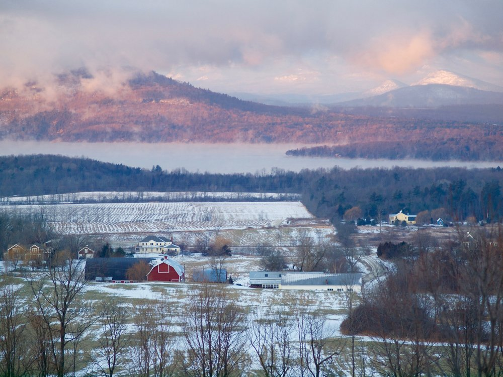Winter view from the Mt. Philo Inn, adjacent to the hiking and sliding options on Mt. Philo