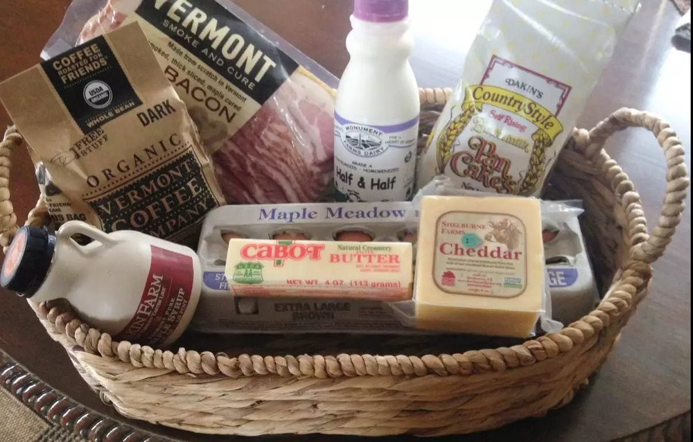 Complimentary breakfast basket: Dakin Farm pancake mix, neighbor David Allen's maple syrup, Fat Cow Farm bacon, Maple Meadows eggs, Shelburne Farms cheddar, Cabot butter, Monument Farms half-half, Vermont Coffeee Roaster dark blend