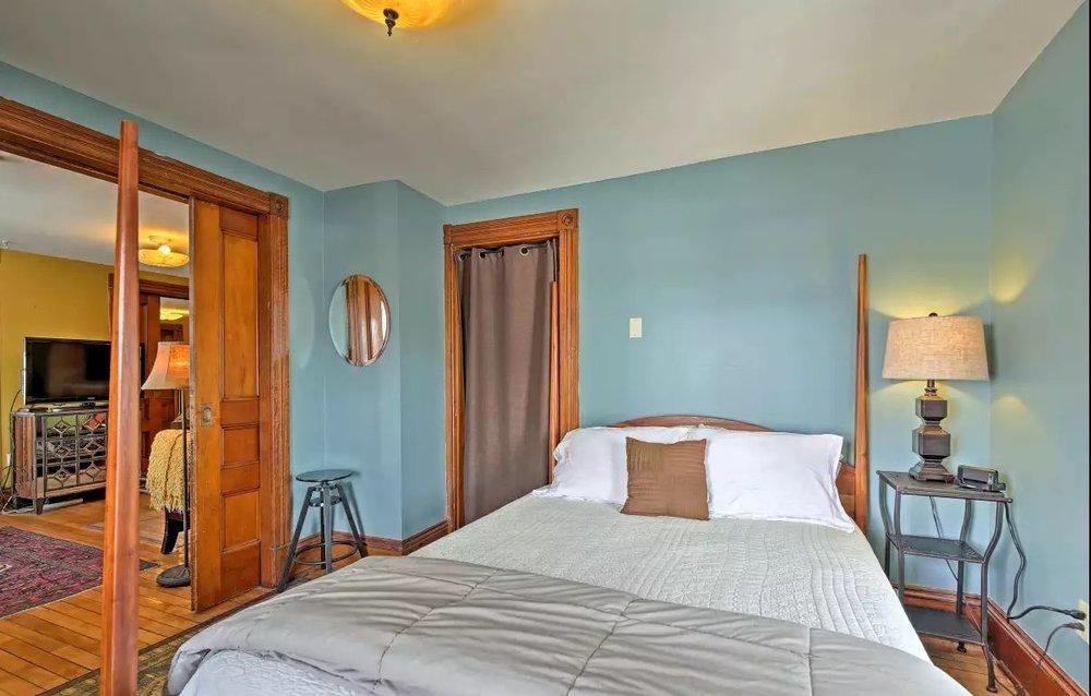 West Wing southwest bedroom - Original Pocket doors with ornate hardware