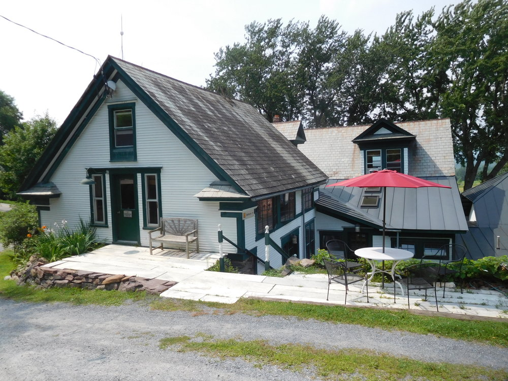 Carriage House entrance, Vermont marble patio