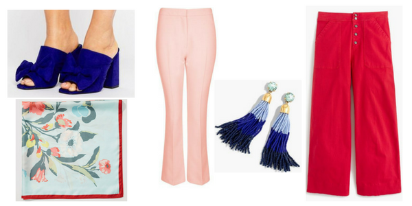 1 - Blue Bow Mules, ASOS 2 - Primavera Scarf | LOFT 3 - Crop Kick Flare Trousers - Topshop USA 4 - J.Crew Colorblock Bead Tassel Earrings | Nordstrom 5 - Wide-leg cropped chino pant : Women novelty | J.Crew