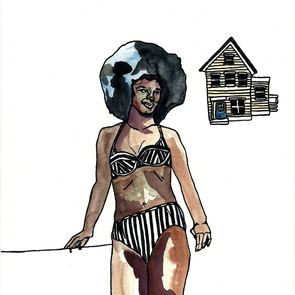 Women & Objects series  for the 2016 Var Gallery 30 x 30 x 30 show   Christina Scheppmann Thomas, 2016 Watercolor & Ink on Paper   Copyright Persika Design Co. LLC - Contact Christina@PersikaDesignCo.com to commission or collaborate!