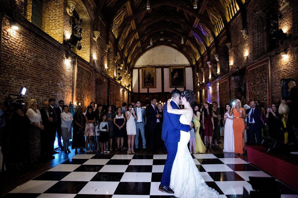 London wedding reception at Hatfield House Sophie Anwar photography August weddings first dance